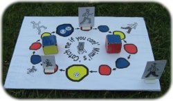 "Mimi's ""Catch me if you can!"" is a fun board game of chance for two to play, one as Mimi and the other as Mama or Daddy. Mimi will win around 4 out of 5 games!"